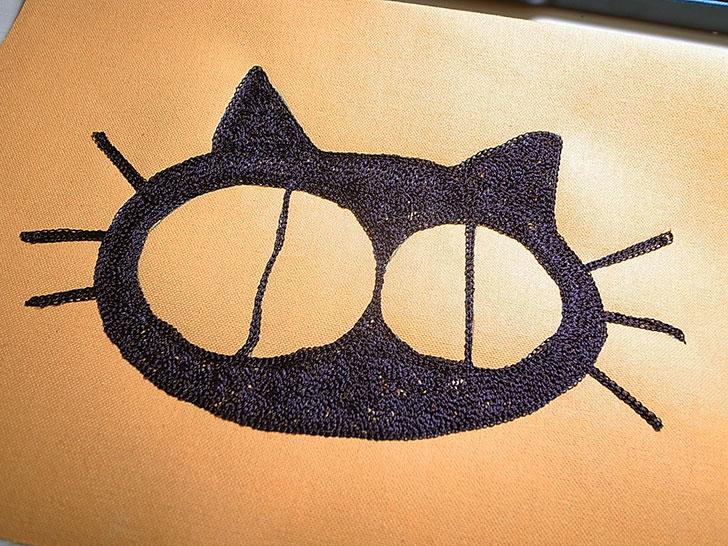 猫 チェーン刺繍