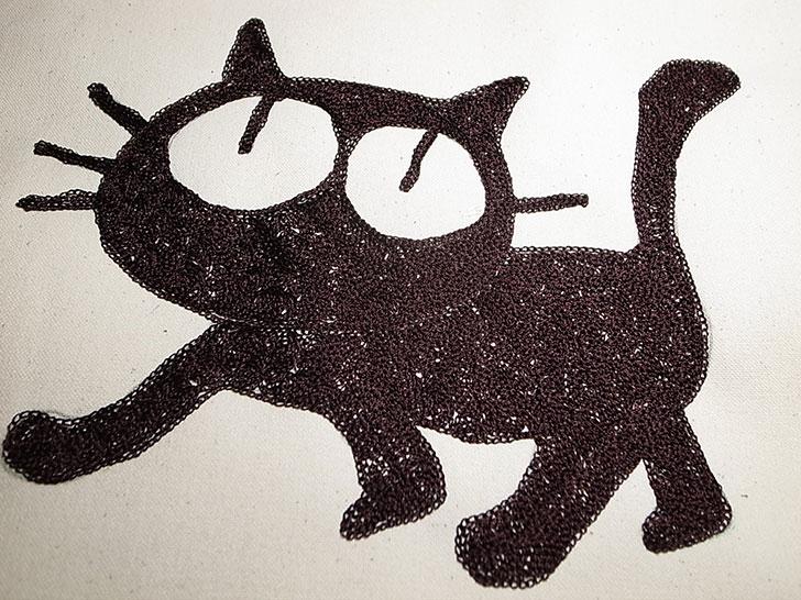 猫 チェーン刺繍 鎌倉