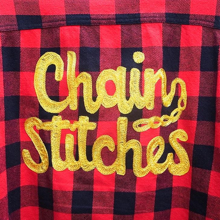 ユーズドチェーン刺繍ネルシャツ