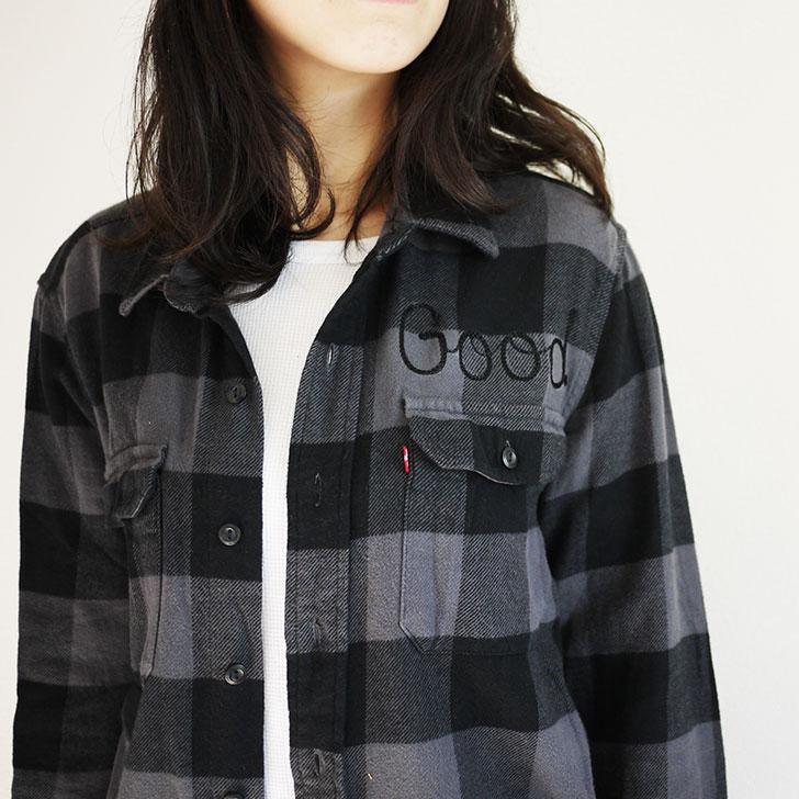 チェーン刺繍 ネルシャツ
